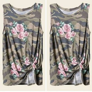 Tops - Twist front Camo Floral tank